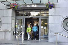 Galway, Ireland June 2017, Jury`s Inn Hotel main entrance, gues. T leaving the Hotel Royalty Free Stock Images