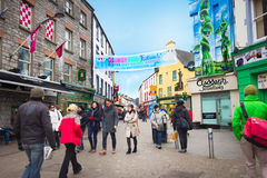 Galway Ireland. GALWAY, IRELAND - MAR 31: Street scene in historic Galway City Ireland on Mar 31, 2013. This medieval coastal city is now a lively cultural Stock Photo