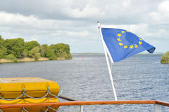 Galway  River Corrib, Connacht, Ireland June 2017,Euro Flag   in. Galway  River Corrib, Connacht, Ireland June 2017,Euro Flag  in a boat Royalty Free Stock Image