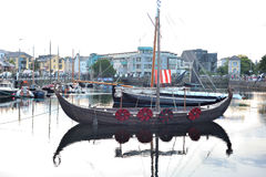 Galway Spanish Arch , Ireland June 2017,Claddagh Festival , Trad. Itional Boats ,Vikings  longboat Royalty Free Stock Photos