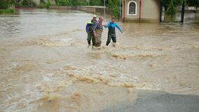 Natural disaster major flooding underwater entire community and flooded.