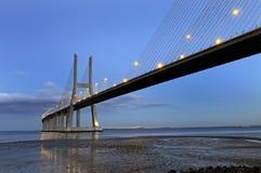 gama DA γεφυρών νύχτα Vasco Στοκ Εικόνα