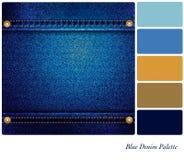 Gama de colores azul del dril de algodón Imagenes de archivo