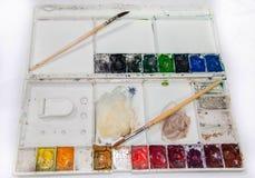 Gama de colores con los cepillos Fotografía de archivo
