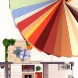 Gama de colores de color con un plan del apartamento Imagen de archivo