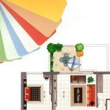 Gama de colores de color con un plan del apartamento Imagenes de archivo