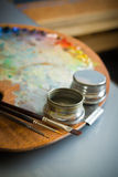 Gama de colores de la pintura del artista Imágenes de archivo libres de regalías