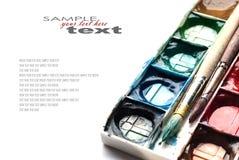 Gama de colores de las pinturas de la acuarela Fotografía de archivo