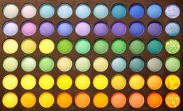 Gama de colores de los sombreadores de ojos del primer Foto de archivo