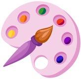 Gama de colores y brocha Foto de archivo libre de regalías