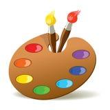 Gama de colores y brochas Imágenes de archivo libres de regalías