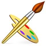 Gama de colores y cepillo del artista del vector stock de ilustración