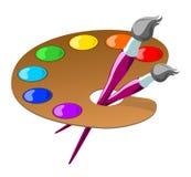 Gama de colores y cepillos Fotos de archivo libres de regalías