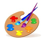 Gama de colores y cepillos Fotografía de archivo