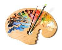 Gama de colores y cepillos del artista Foto de archivo libre de regalías