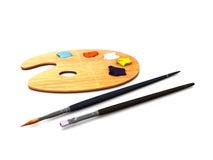 Gama de colores y cepillos del artista Imagen de archivo