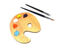Gama de colores y cepillos del artista Imágenes de archivo libres de regalías