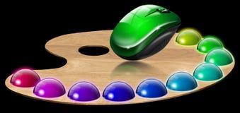 Gama de colores y ratón del pintor Fotos de archivo