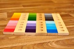 Gama de madeira da cor de Montessori imagens de stock royalty free