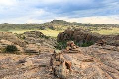 Gama de montañas de piedra en meridional de Mongolia fotografía de archivo