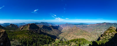 Gama de montañas, visión desde Pico de las Nieves, Gran Canaria, España Foto de archivo