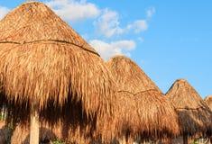 Gama de parasoles del paraguas de la paja/de bambú contra el cielo azul primer Maya de Riviera, México Fotos de archivo libres de regalías