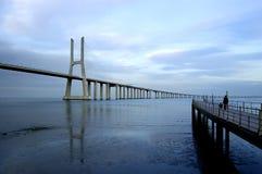 Gama van Vasco DA brug, Grootste brug van Europa Royalty-vrije Stock Afbeeldingen