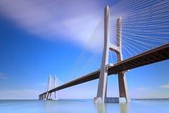 Gama van Vasco DA brug, Lissabon, Portugal. Stock Afbeelding