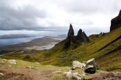 Gamal man av Storr på ön av Skye, Skottland Arkivfoton