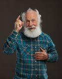 Gamal man med ett långt skägg med stort leende Fotografering för Bildbyråer