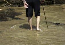 Gamal man med strandrottingen royaltyfria bilder