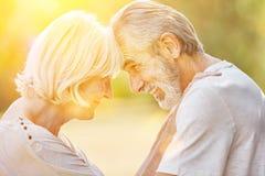 Gamal man och gammal kvinna som är förälskade i sommar arkivfoton