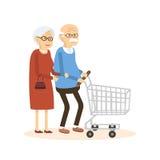 Gamal man och kvinna med shoppingvagnen stock illustrationer
