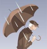 Gamal man och regn vektor illustrationer