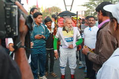 Gamal man på den Hyderabad 10K körningshändelsen Fotografering för Bildbyråer