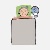 Gamal man som är sjuk på säng Royaltyfria Bilder