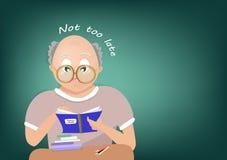 Gamal man som läser en bok, tillbaka till skola, inte för sent meddelande som lär folkteckenvektorn, tecknet och plan design för  stock illustrationer