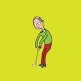 gamal man som spelar golf Fotografering för Bildbyråer