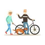 Gamal mananseende bredvid en cykel, hög kvinna som går med hunden, färgrik teckenvektor för sund aktiv livsstil stock illustrationer