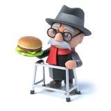 gamala mannen 3d äter en hamburgare Arkivbilder