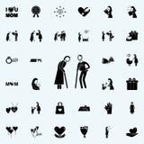 gamala mannen ger blommasymbolen för den gamla kvinnan Fostra \ 'den universella uppsättningen för s-dagsymboler för rengöringsdu stock illustrationer
