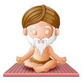 Gamala mannen mediterar, medan sitta på ett bräde med spikar i en lotusblomma poserar Royaltyfria Bilder