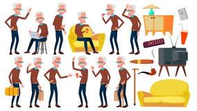 Gamala mannen poserar den fastställda vektorn Äldre folk Hög person igen Caucasian pensionär leende Rengöringsduk affisch, häfted royaltyfri illustrationer