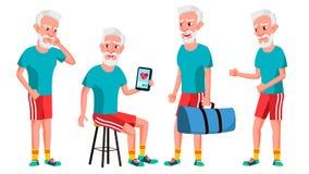 Gamala mannen poserar den fastställda vektorn Äldre folk Hög person igen Sport kondition Gullig pensionär activatoren annonsering stock illustrationer