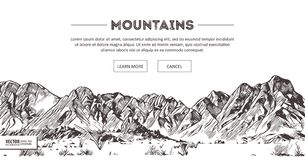 Gamas de montañas Bosquejo de la naturaleza Dibujo de punta de la mano del bosquejo del paisaje de la montaña, en estilo de la ag ilustración del vector