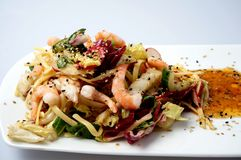 Gamba del verano y ensalada deliciosas de los tallarines Foto de archivo libre de regalías