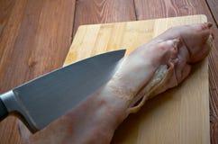 Gamba della carne di maiale tagliata Fotografia Stock Libera da Diritti