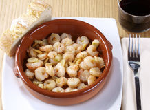 Gambas al ajillo – Fried shrimps with garlic Stock Image