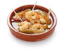 Gambas al ajillo , garlic prawns , spanish tapas Royalty Free Stock Photos