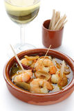Gambas al ajillo , garlic prawns , spanish tapas Royalty Free Stock Photography